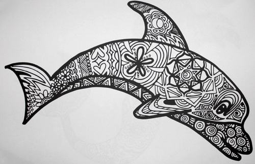 Coloring Animals With Patterns : Free coloring pages of dolphin pattern