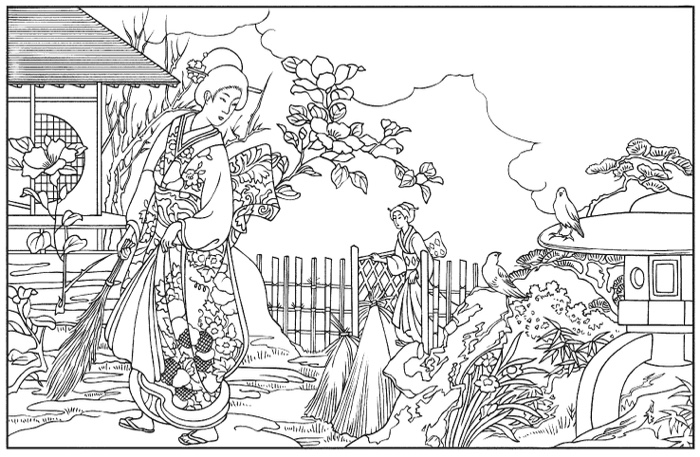 japanese art coloring pages - photo#5