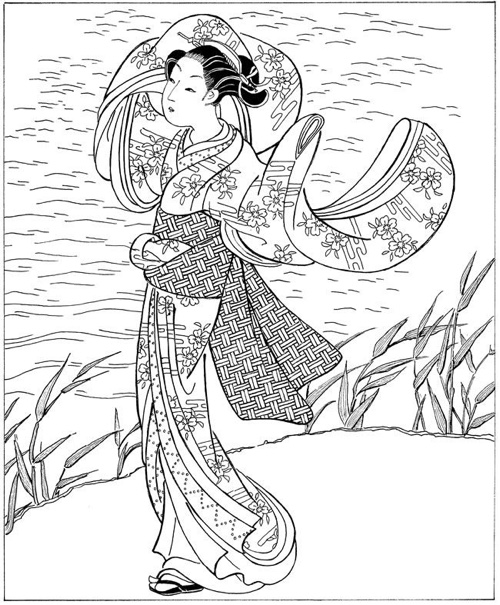 Japan Coloring Book Japanese Books Women In Art Page G